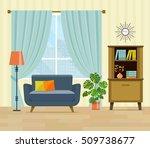 flat retro interior living room ... | Shutterstock .eps vector #509738677