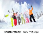 Group Of Friends Skiers And...
