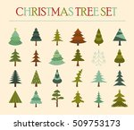 christmas tree icon set. flat... | Shutterstock .eps vector #509753173