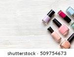 lot of bottles nail polish on... | Shutterstock . vector #509754673