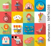 circus and amusement park flat... | Shutterstock .eps vector #509761333