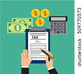 tax time flat icons vector... | Shutterstock .eps vector #509770573