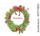 christmas wreath on white. hand ... | Shutterstock . vector #509774803