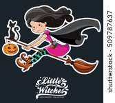 little witch. halloween witch.  | Shutterstock .eps vector #509787637