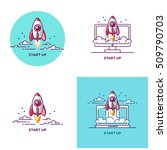 start up set design elements in ... | Shutterstock .eps vector #509790703