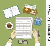 man working with documents. men'... | Shutterstock .eps vector #509796823