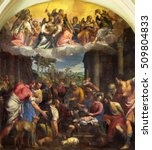 Small photo of BRESCIA, ITALY - MAY 23, 2016: The painting Adoration of shepherds in church Chiesa di Angela Merici by Carlo Caliari (1570 - 1596).