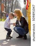 boy is keeping mother's hands...   Shutterstock . vector #509891047