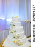 white wedding cake with flowers ... | Shutterstock . vector #509896987