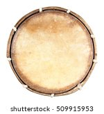 Small photo of Top view of drum leather isolated on white background. Drum head isolated