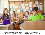 happy children sitting in class ... | Shutterstock . vector #509989447