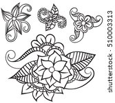 zentangle abstract flowers....   Shutterstock .eps vector #510003313