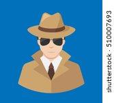 Flat Male Detective Icon Vecto...