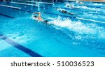young man swimming freestyle in ... | Shutterstock . vector #510036523