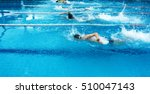 young man swimming freestyle in ... | Shutterstock . vector #510047143