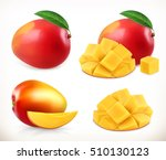 mango. whole and pieces. sweet... | Shutterstock .eps vector #510130123