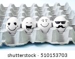 four brown eggs  with faces... | Shutterstock . vector #510153703