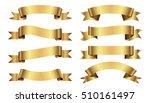 set of golden ribbons on white... | Shutterstock .eps vector #510161497