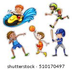 sticker set with people doing... | Shutterstock .eps vector #510170497