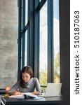 female student taking notes... | Shutterstock . vector #510187063