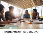 group of young people sitting... | Shutterstock . vector #510187297