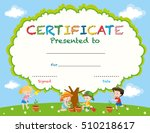 certificate template with kids... | Shutterstock .eps vector #510218617