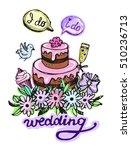 hand drawn doodle wedding... | Shutterstock .eps vector #510236713