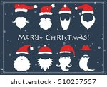 santa hats  moustache and... | Shutterstock .eps vector #510257557