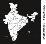 india with provinces map  black ... | Shutterstock .eps vector #510259837