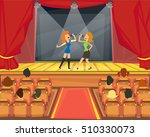 female duo singing the song on... | Shutterstock .eps vector #510330073