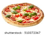 margherita pizza on a thick pie ... | Shutterstock . vector #510372367
