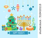 christmas and hanukkah holiday... | Shutterstock .eps vector #510410113