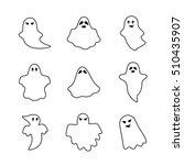 white thin line ghost set... | Shutterstock .eps vector #510435907