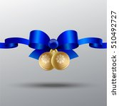 new blue silk bow with ribbons... | Shutterstock .eps vector #510492727