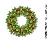 christmas wreath with balls.... | Shutterstock .eps vector #510506953