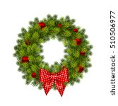 christmas wreath with balls.... | Shutterstock .eps vector #510506977