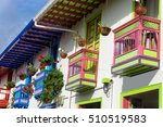 brightly colored colonial... | Shutterstock . vector #510519583