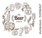 round frame with beer icons.... | Shutterstock . vector #510586567