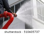 Firefighter Spray A Water Jet...