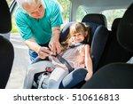man buckling seat belt in... | Shutterstock . vector #510616813