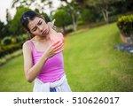 symptom pain elbow  morning the ... | Shutterstock . vector #510626017