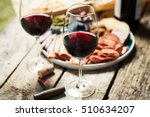 red wine with charcuterie...   Shutterstock . vector #510634207