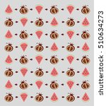 flat fruits pattern. vector... | Shutterstock .eps vector #510634273