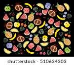 flat fruits pattern. vector... | Shutterstock .eps vector #510634303