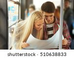 young couple looking at map in... | Shutterstock . vector #510638833