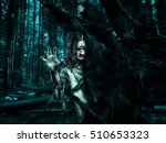 horror undead woman looks out... | Shutterstock . vector #510653323