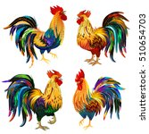 fiery rooster the symbol of... | Shutterstock .eps vector #510654703
