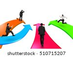 men on four color arrows go... | Shutterstock . vector #510715207