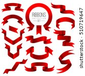 set of red ribbons collection... | Shutterstock .eps vector #510719647