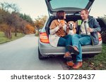 tea party in car trunk   loving ... | Shutterstock . vector #510728437